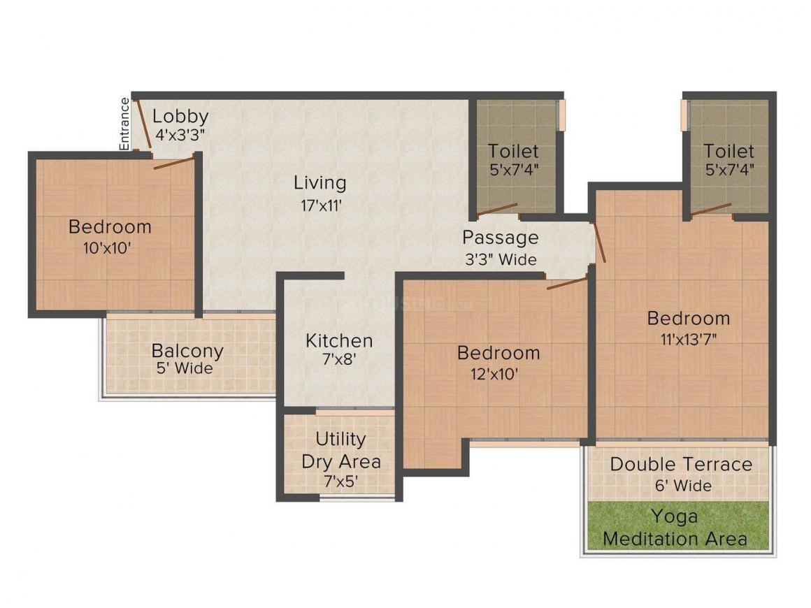 Anand Homes - IV Floor Plan: 3 BHK Unit with Built up area of 1350 sq.ft 1