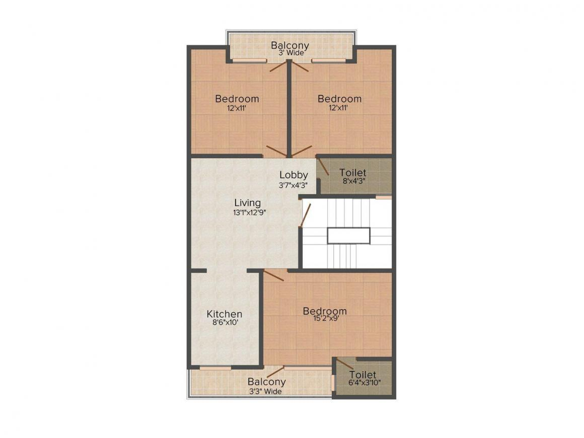 Shri Agarsen Bhumi Aggarwal Homes - V Floor Plan: 3 BHK Unit with Built up area of 900 sq.ft 1