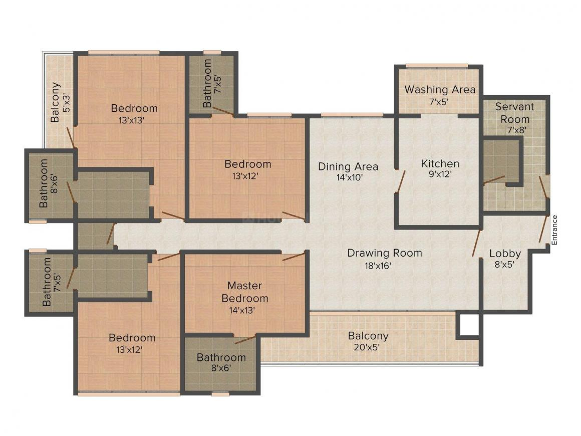 Krishna Heights 5 Floor Plan: 4 BHK Unit with Built up area of 2190 sq.ft 1