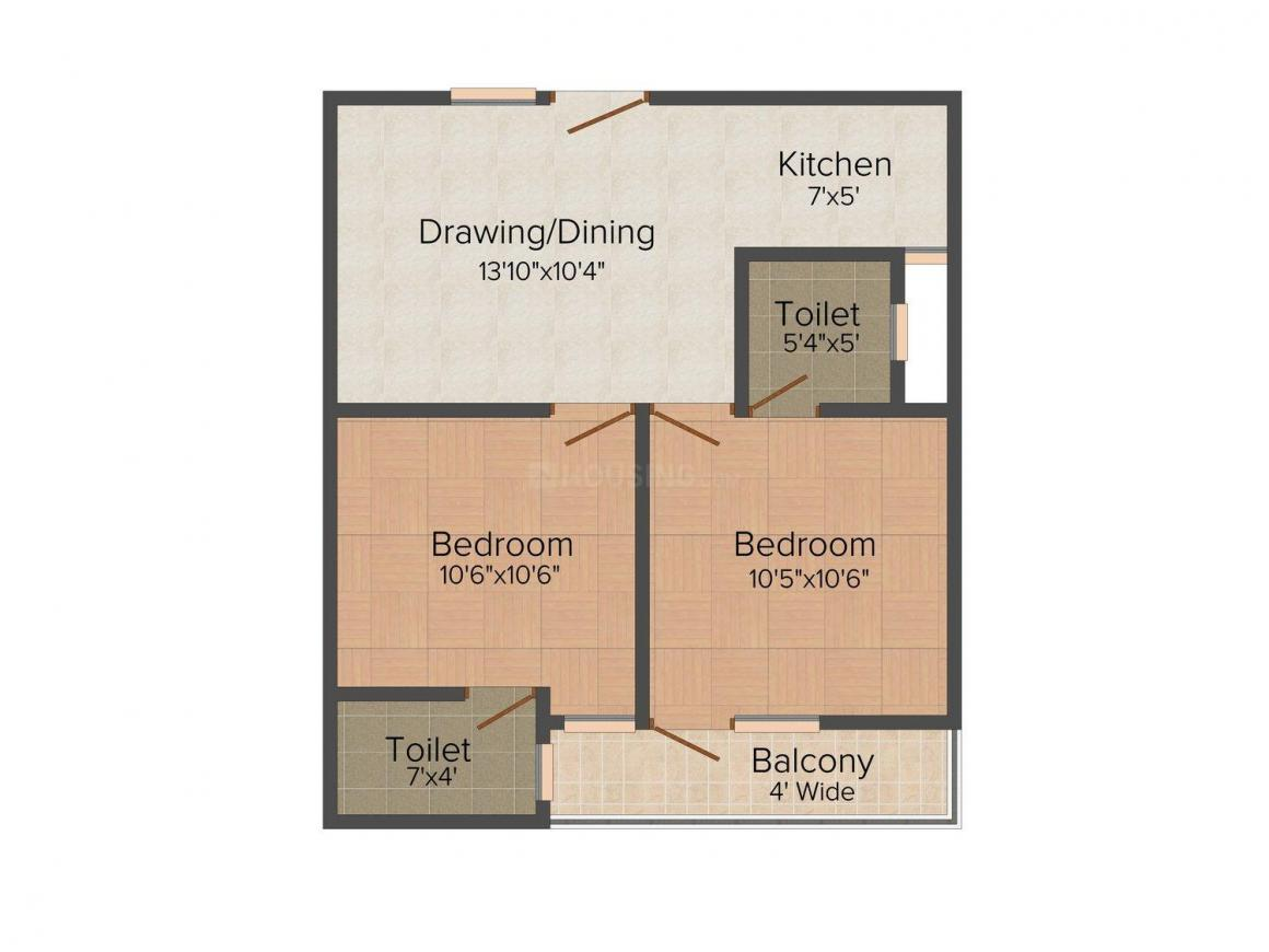 Vikram Apartment - 3 Floor Plan: 2 BHK Unit with Built up area of 650 sq.ft 1