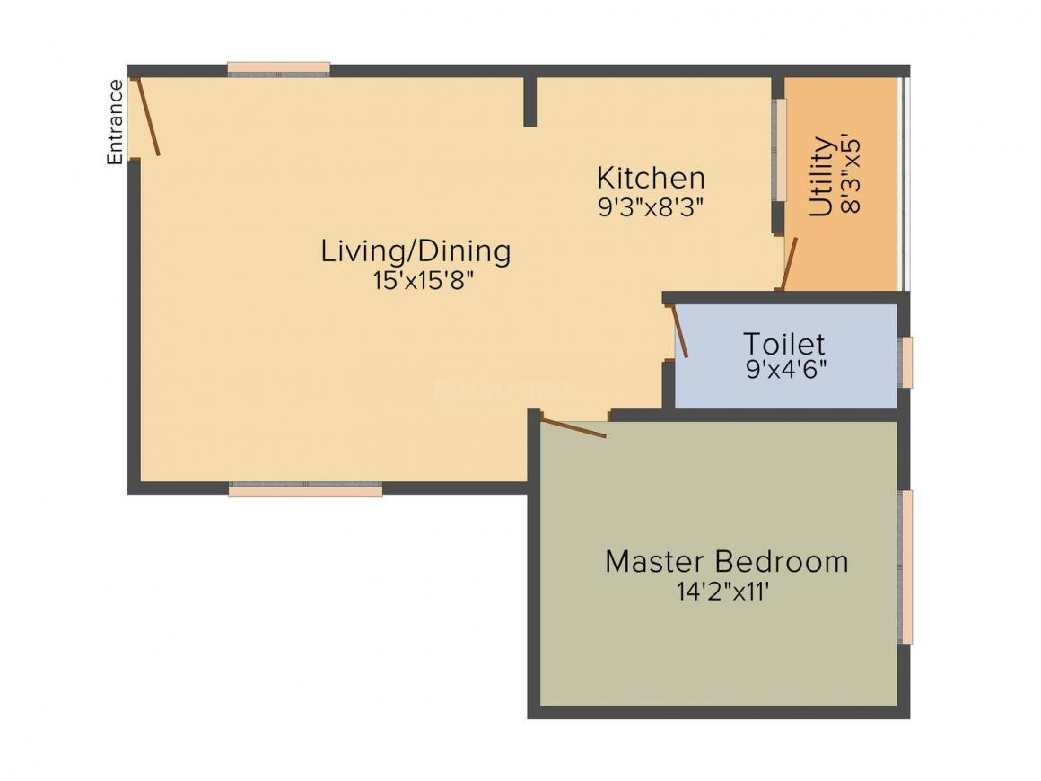 Opera Spring Leaf Floor Plan: 1 BHK Unit with Built up area of 780 sq.ft 1