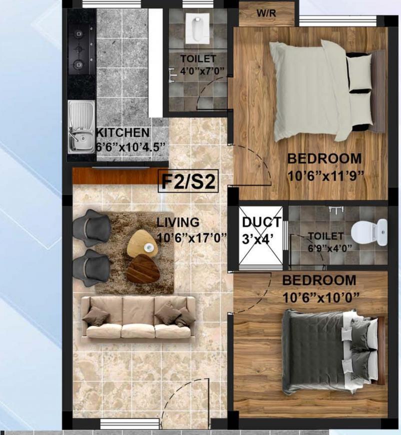Sri Ayyan Aishwariyam Floor Plan: 2 BHK Unit with Built up area of 800 sq.ft 1