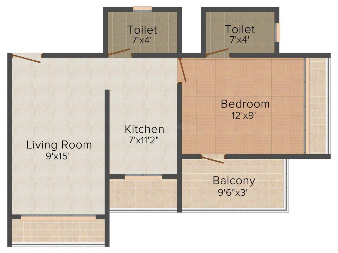 Floor Plan Image of 600 - 850 Sq.ft 1 BHK Apartment for buy in Rudra Solitaire