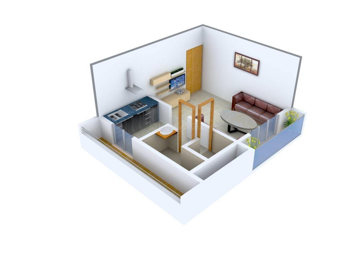 Floor Plan Image of 280.0 - 480.0 Sq.ft 1 RK Apartment for buy in Gautam Nirvana Arcade
