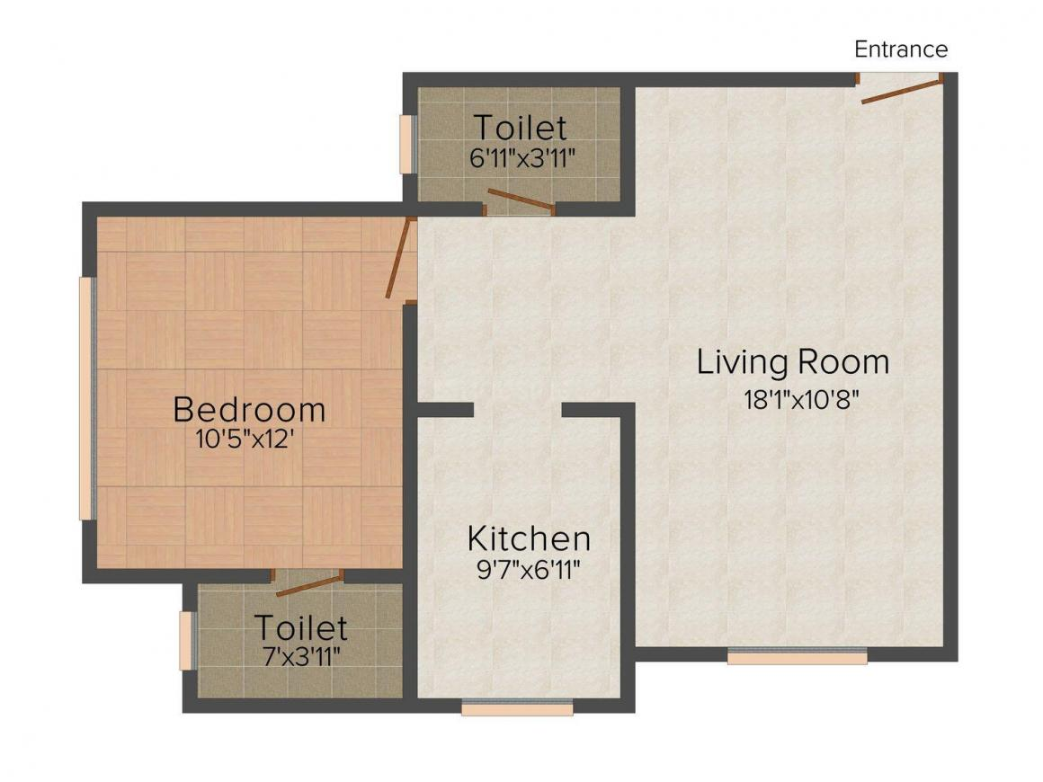 Floor Plan Image of 472 - 780 Sq.ft 1 BHK Apartment for buy in Right Channel Vrindavan