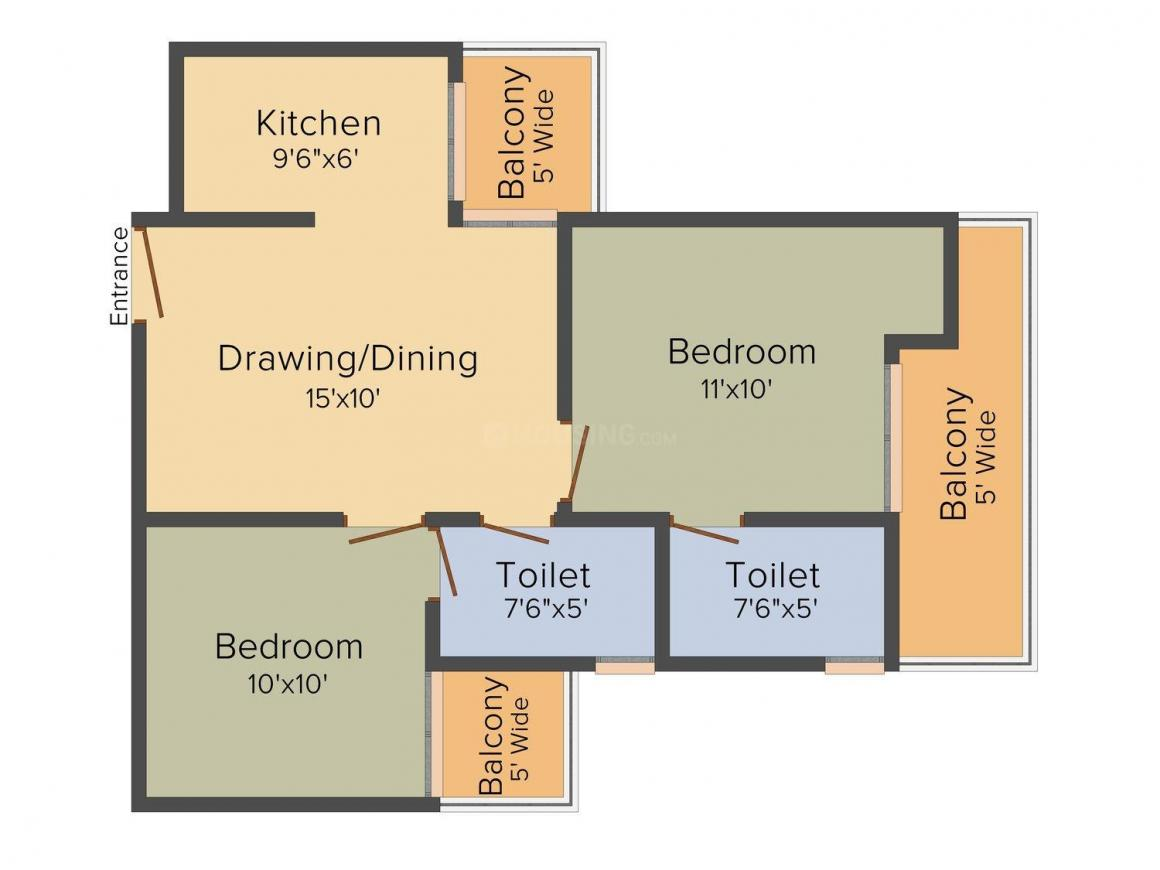 Nitya Grand Avenue Floor Plan: 2 BHK Unit with Built up area of 865 sq.ft 1