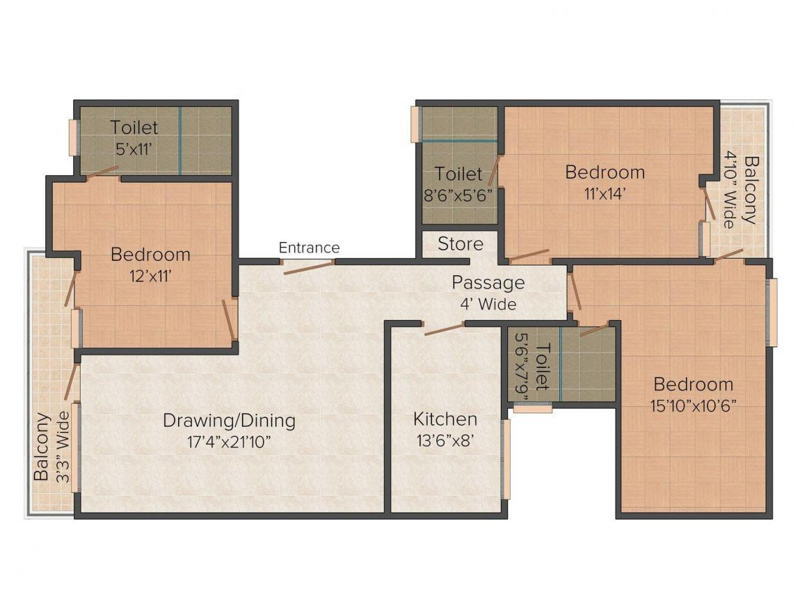 Floor Plan Image of 0 - 1350.0 Sq.ft 3 BHK Independent Floor for buy in Sabharwal Apartments 1