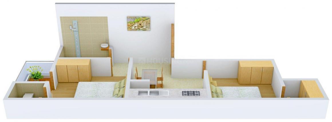 Unico Ganapati Apartment Floor Plan: 2 BHK Unit with Built up area of 725 sq.ft 1