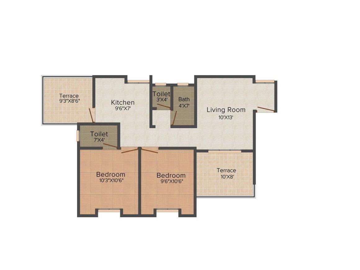 Floor Plan Image of 0 - 774 Sq.ft 2 BHK Apartment for buy in SKD Pearl