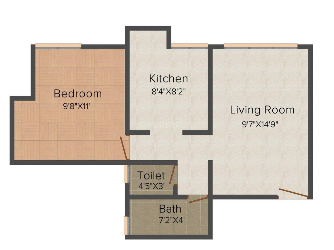 Floor Plan Image of 435.0 - 745.0 Sq.ft 1 BHK Apartment for buy in Haware Estate