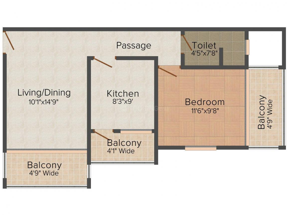 Floor Plan Image of 729 - 1017 Sq.ft 1 BHK Apartment for buy in Aksa Westend